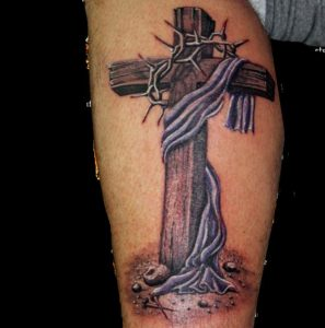 Wooden-Cross-With-Barbed-Crown-Tattoo-Design-For-Leg-Calf